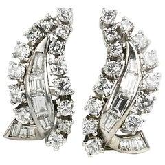 Diamond 3.00 Carat Clip Earrings, circa 1950