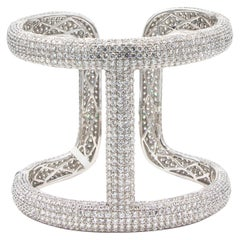Diamond 38 Carat Cuff Bracelet 18 Karat Gold