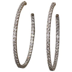 Diamond 4 ctw + 18K White Gold Inside Outside X Large Hoop Earrings