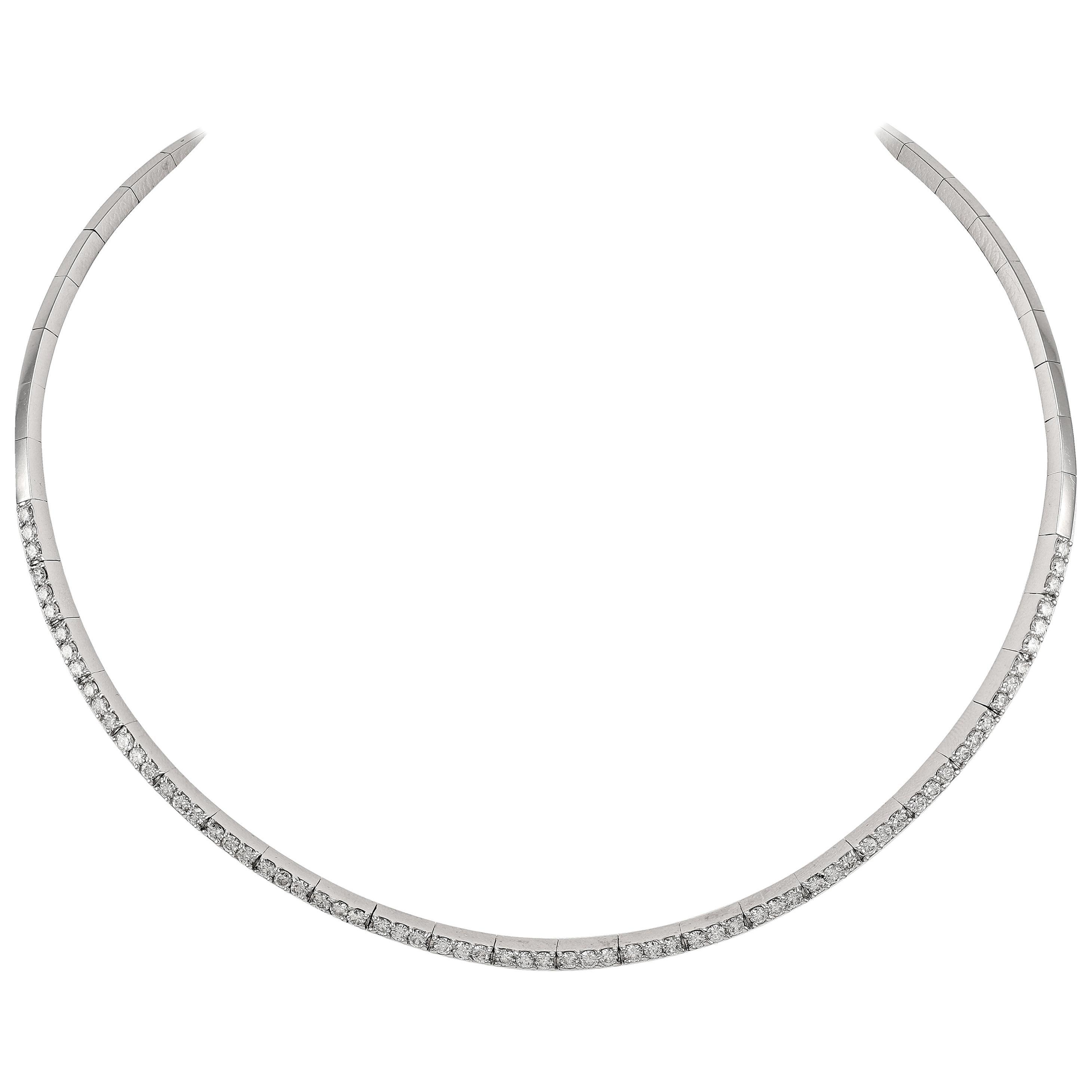 Diamond 4.01 Carat Rivière Line Collar Choker Necklace
