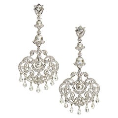 Diamond 5.96 Carat White Gold Drop Earrings