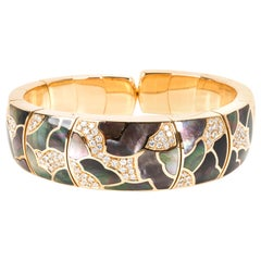 Diamond and Abalone Bangle in 18 Karat Yellow Gold 2 Carat