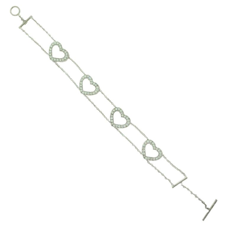 Diamond Accent Heart Shaped in 18 Karat White Gold Link Bracelet For Sale