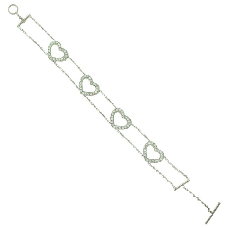 Women's or Men's Diamond Accent Heart Shaped in 18 Karat White Gold Link Bracelet For Sale