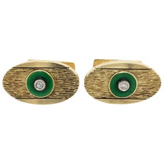 Diamond Accent Yellow Gold Oval Cuff Links with Green Enamel