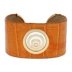 Diamond-Accented Chopard Happy Spirit Cuff Bracelet, 18 Karat Gold and Leather
