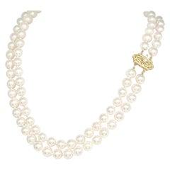 Diamond Akoya Pearl 14 Karat 2-Strand Necklace Certified