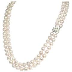 "Diamond Akoya Pearl Necklace 8 mm 14k Gold 18 3/4"" 2-Strand Certified"