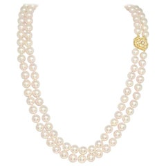 "Diamond Akoya Pearl Necklace 8.mm 14k Gold 20"" 2-Strand Certified"
