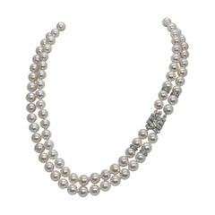 Diamond Akoya Pearl 2 Strand Necklace 14k Gold Certified