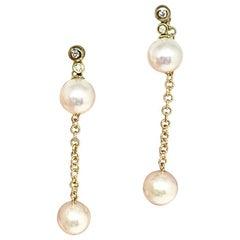 Diamond Akoya Pearl Earrings 14 Karat Gold Women Certified