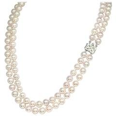 Diamond Akoya Pearl Necklace 14k Gold 2-Strand Certified