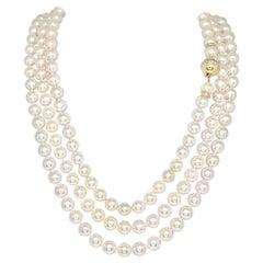 Diamond Akoya Pearl Necklace 14k Gold Flapper Certified