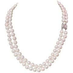 Diamond Akoya Pearl Necklace 2-Strand 14k WG Certified