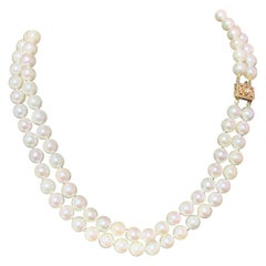 Diamond Akoya Pearl Necklace 2-Strand 14k Yellow Gold Certified