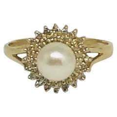 Diamond Akoya Pearl Ring 14 Karat Gold Women Certified