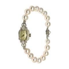Diamond Akoya Pearl Waltham Watch 14k Gold Certified