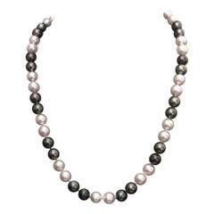 Diamond Akoya Tahitian Pearl 14 Karat Necklace Certified
