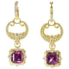 Diamond, Almandine Garnet and 18 Karat Contemporary Earrings