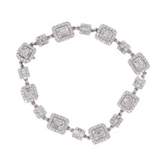 Diamond Alternating Halo Station Diamond Bracelet