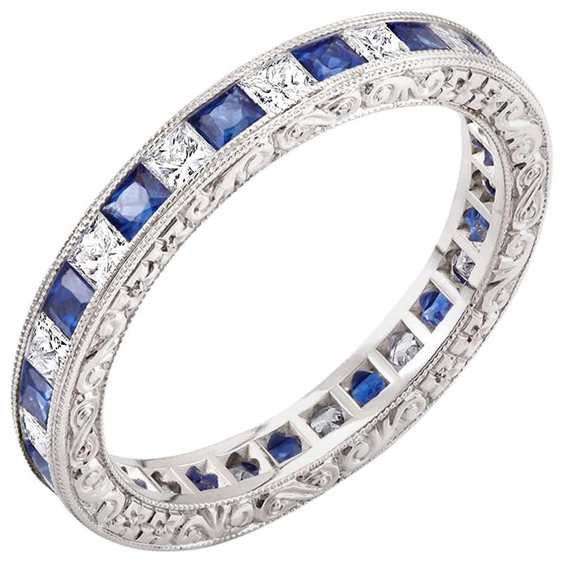 Diamond Alternating Sapphire Eternity Hand Engraved Platinum Band Ring