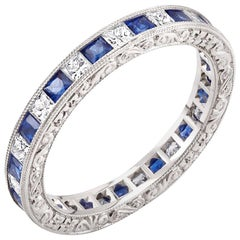 Diamond Alternating Sapphire Eternity Hand Engraved Platinum Band Ring