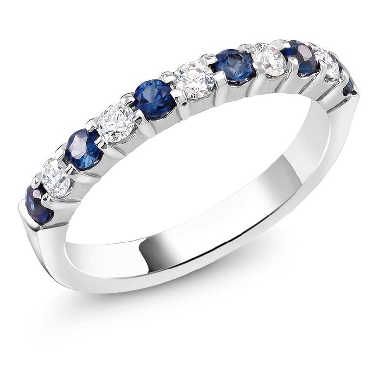 Round Cut Diamond Alternating Sapphire Partial 13 Stone Eighteen Karat Gold Ring  For Sale