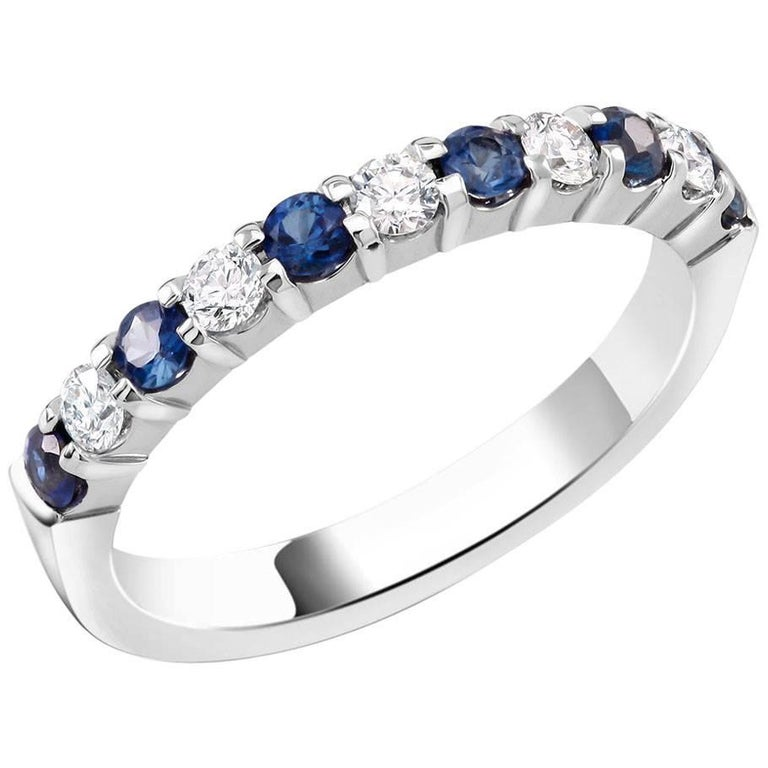Diamond Alternating Sapphire Partial 13 Stone Eighteen Karat Gold Ring  For Sale