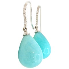 Diamond Amazonite and 18 Carat White Gold Pacific Drop Earrings