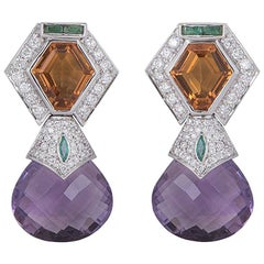 Diamond, Amethyst and Citrine Earrings