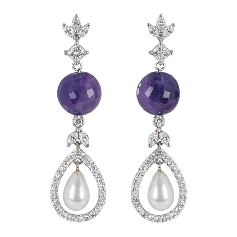 Diamond Amethyst and Pearl Dangle Drop Earrings