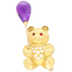 Diamond, Amethyst and Ruby Teddy Bear Pin Brooch Set in 18 Karat Yellow Gold