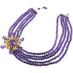 Diamond Amethyst Citrine Quartz 18 Karat Gold Necklace Brooch