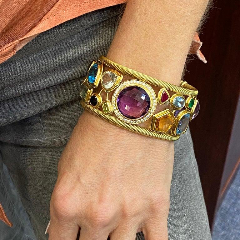 Diamond Amethyst Emerald Sapphire Topaz Ruby 18 Karat Yellow Gold Cuff Bracelet For Sale 4