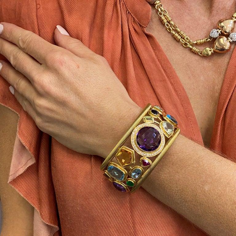 Modern Diamond Amethyst Emerald Sapphire Topaz Ruby 18 Karat Yellow Gold Cuff Bracelet For Sale