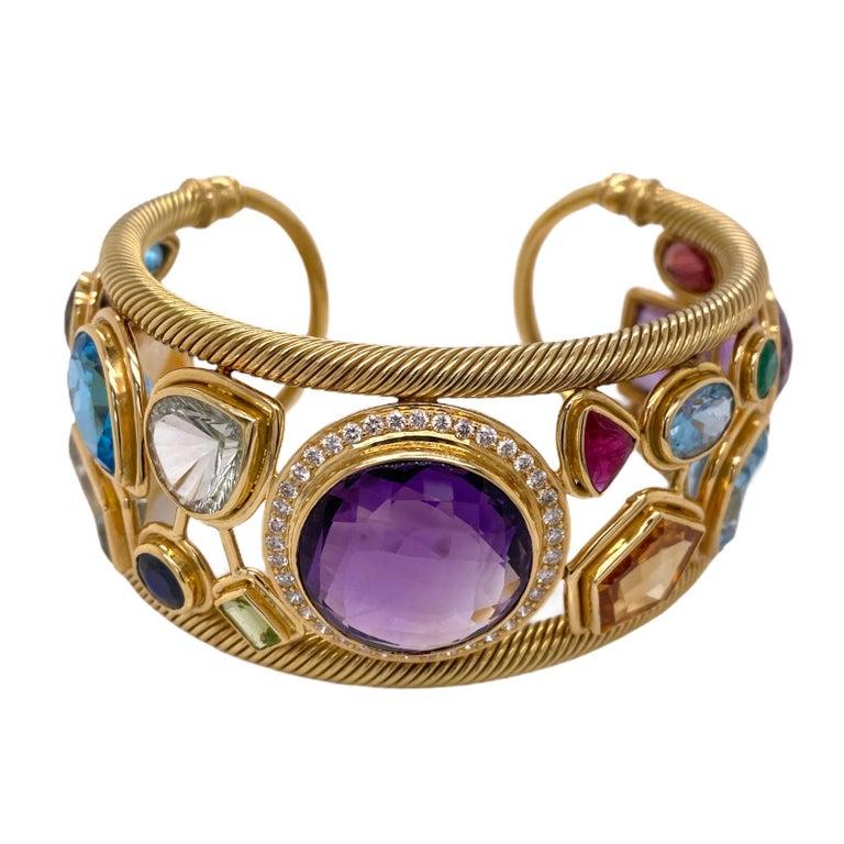 Round Cut Diamond Amethyst Emerald Sapphire Topaz Ruby 18 Karat Yellow Gold Cuff Bracelet For Sale