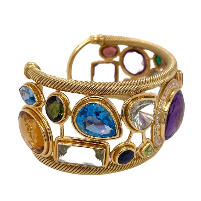 Diamond Amethyst Emerald Sapphire Topaz Ruby 18 Karat Yellow Gold Cuff Bracelet In Excellent Condition For Sale In Boca Raton, FL
