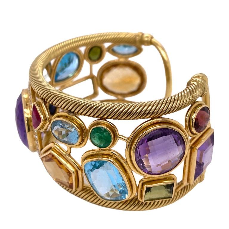 Women's Diamond Amethyst Emerald Sapphire Topaz Ruby 18 Karat Yellow Gold Cuff Bracelet For Sale