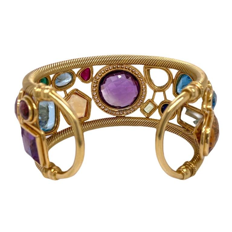 Diamond Amethyst Emerald Sapphire Topaz Ruby 18 Karat Yellow Gold Cuff Bracelet For Sale 1