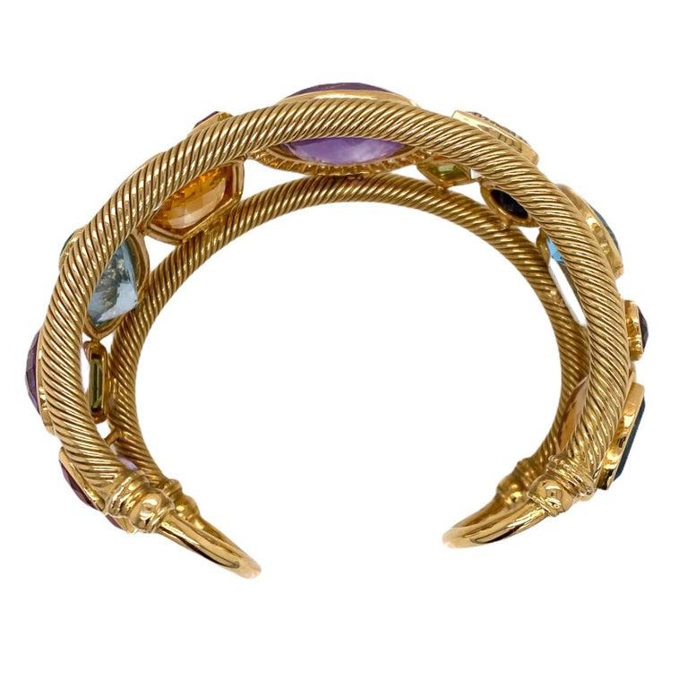 Diamond Amethyst Emerald Sapphire Topaz Ruby 18 Karat Yellow Gold Cuff Bracelet For Sale 2