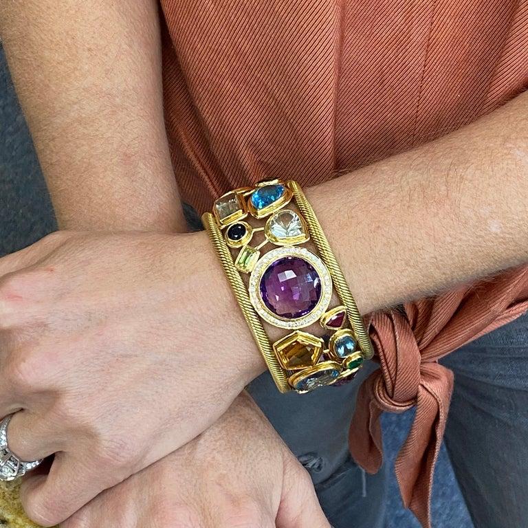 Diamond Amethyst Emerald Sapphire Topaz Ruby 18 Karat Yellow Gold Cuff Bracelet For Sale 3