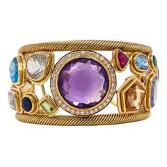 Diamond Amethyst Emerald Sapphire Topaz Ruby 18 Karat Yellow Gold Cuff Bracelet