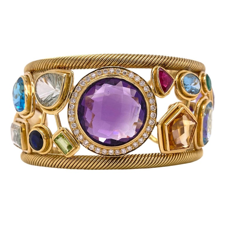 Diamond Amethyst Emerald Sapphire Topaz Ruby 18 Karat Yellow Gold Cuff Bracelet For Sale