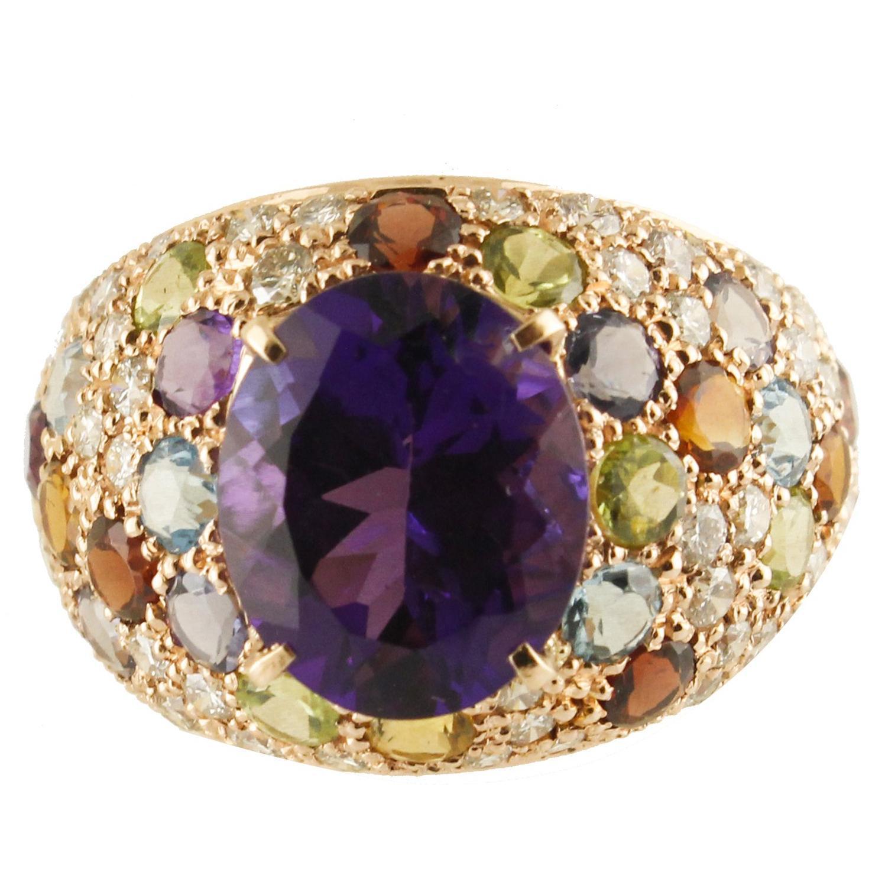 Diamond Amethyst Peridot Orange Light Blue Topaz Iolite Garnet Rose Gold Ring