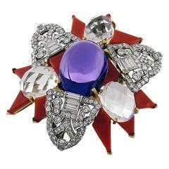 Diamond, Amethyst, Rock Crystal and Carved Coral Brooch, David Webb