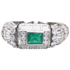 Diamond and 12ct Colombian Emeralds French Platinum Deco Bracelet Rubell Frers
