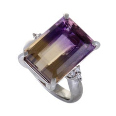 Diamond and 13.33 Carat Ametrine Platinum Ring