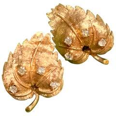 Diamond and 14 Karat Gold Leaf-Shaped Clip-On Earrings