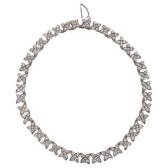Diamond and 14 Karat White Gold Collar Necklace