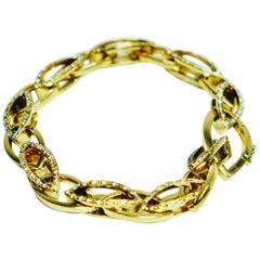 Diamond and 18 Carat Gold Italian Link Bracelet by Mattioli